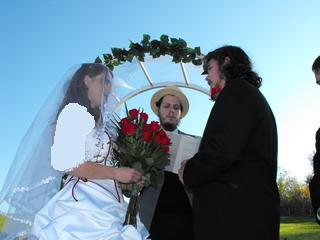 Mr. and Mrs. C. at a country wedding in Mt. Solon, VA, presided over by Joseph Kolakowski